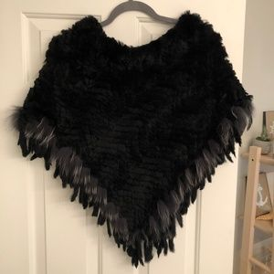 Women's Black Rabbit and Fox Fur Poncho